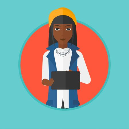 An african-american young woman holding a tablet computer. Student working on tablet computer. Smiling woman with digital tablet. Vector flat design illustration in the circle isolated on background.