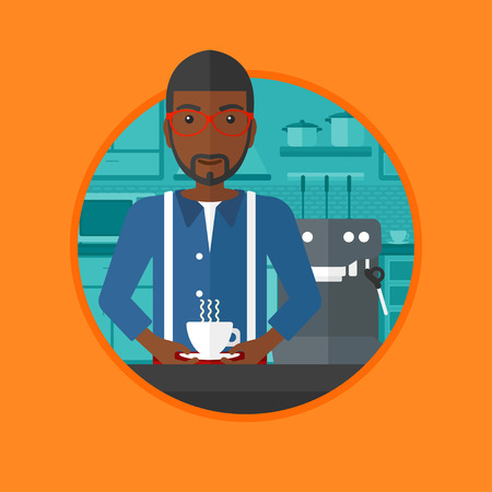 machine man: African-american man making coffee with a coffee-machine. Man with cup of coffee standing in the kitchen beside a coffee machine. Vector flat design illustration in the circle isolated on background.