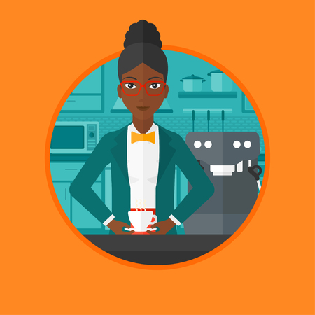An african-american woman making coffee with a coffee-machine. Young woman standing in the kitchen beside a coffee machine. Vector flat design illustration in the circle isolated on background. Illustration