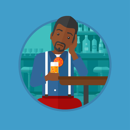 alone man: An african-american sad man sitting at bar with glass of orange cocktail. Man sitting alone at bar and drinking orange cocktail. Vector flat design illustration in the circle isolated on background.
