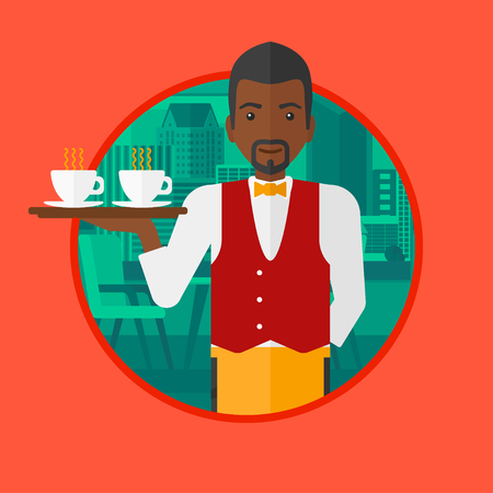 waiter tray: An african-american waiter holding a tray with cups of tea or coffee. Waiter with cups of coffee or tea at the bar. Vector flat design illustration in the circle isolated on background.