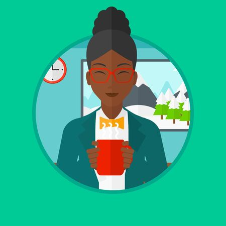 hot woman: African-american woman drinking hot flavored coffee. Young smiling woman with cup of coffee. Woman enjoying fresh coffee at home. Vector flat design illustration in the circle isolated on background.