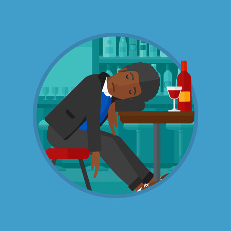 deeply: An african-american drunk man deeply sleeping near the bottle of wine and glass on table. Young drunk man sleeping in bar. Vector flat design illustration in the circle isolated on background. Illustration