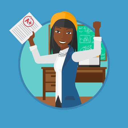 Een Afro-Amerikaanse vrolijke student met opgeheven handen die plaat met een graad in de klas. Student ontvangen beste merk. Vector platte ontwerp illustratie in de cirkel geïsoleerd op de achtergrond.