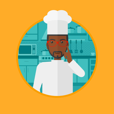 forefinger: An african chief-cooker standing in the kitchen and pointing forefinger up. Chef thinking about the recipe. Chef having an idea. Vector flat design illustration in the circle isolated on background. Illustration