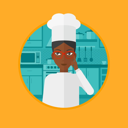 An african chief-cooker standing in the kitchen and pointing forefinger up. Chef thinking about the recipe. Chef having an idea. Vector flat design illustration in the circle isolated on background. Illustration