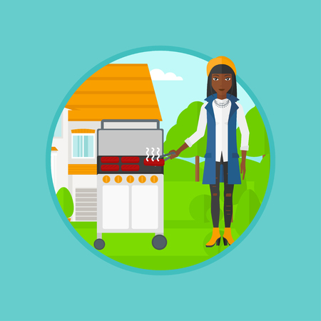 An african-american woman cooking meat on gas barbecue grill in the backyard. Young woman preparing food on gas barbecue grill. Vector flat design illustration in the circle isolated on background.