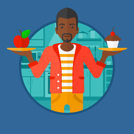 choosing: An african-american man standing with apple and cupcake in hands in the kitchen. Man choosing between apple and cupcake. Vector flat design illustration in the circle isolated on background.