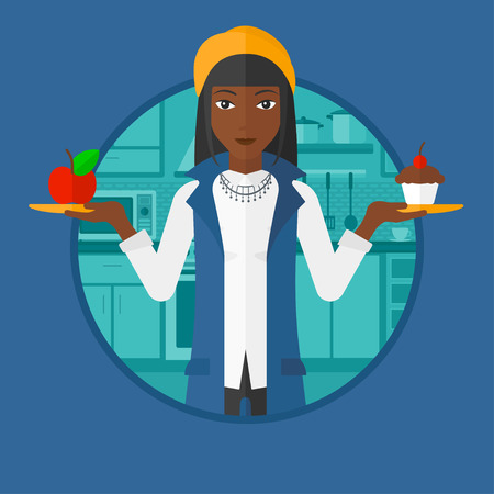 dieting: An african woman standing with apple and cupcake in hands in the kitchen. Woman choosing between apple and cupcake. Dieting concept.Vector flat design illustration in the circle isolated on background