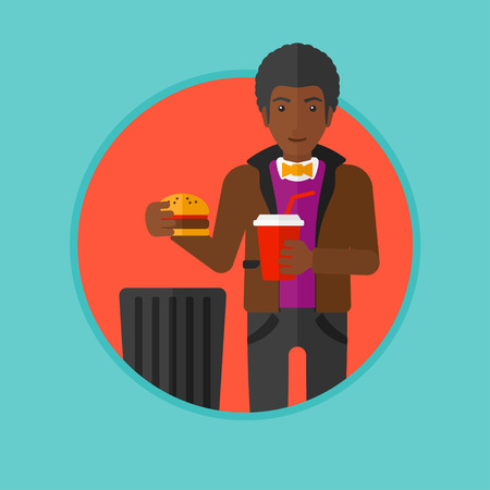 An african man putting junk food into trash bin. Man refusing to eat junk food. Man rejecting fast food. Man throwing junk food. Vector flat design illustration in the circle isolated on background. Illustration