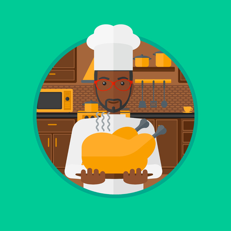 whole chicken: An african-american young chief cooker holding whole baked chicken in the kitchen. Chief cooker with roasted chicken. Vector flat design illustration in the circle isolated on background.