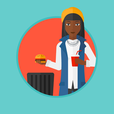 An african-american young woman putting junk food into a trash bin. Woman refusing to eat junk food. Woman rejecting fast food. Vector flat design illustration in the circle isolated on background.