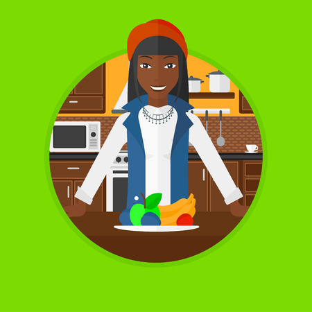 An african-american young woman standing in front of table full of fresh fruits in the kitchen. Healthy food concept. Vector flat design illustration in the circle isolated on background.