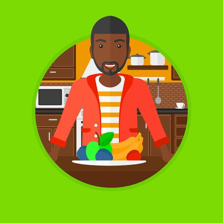 eating food: An african-american young man standing in front of table full of fresh fruits in the kitchen. Healthy food concept. Vector flat design illustration in the circle isolated on background.