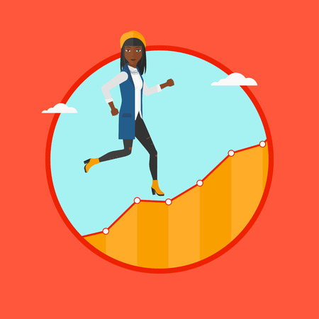 upstairs: An african-american cheerful business woman running along the growth graph. Business woman going up. Successful business concept. Vector flat design illustration in the circle isolated on background.