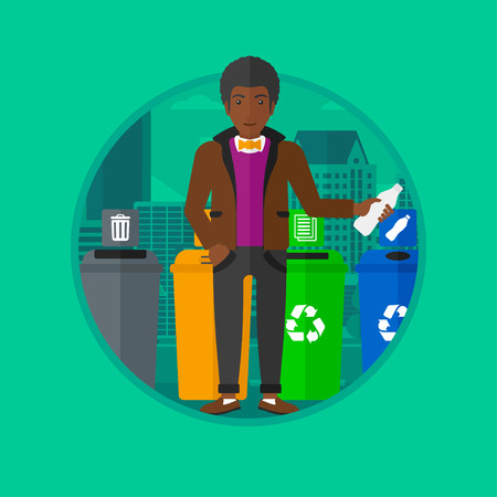 appropriate: An african-american man standing near four bins on a city background and throwing away plastic bottle in an appropriate bin. Vector flat design illustration in the circle isolated on background.