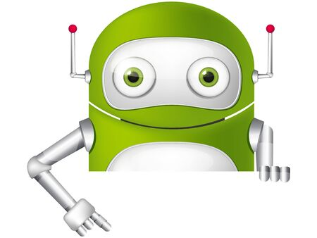 look out: Cartoon Character Cute Robot Isolated on Background. Look Out. Stock Photo