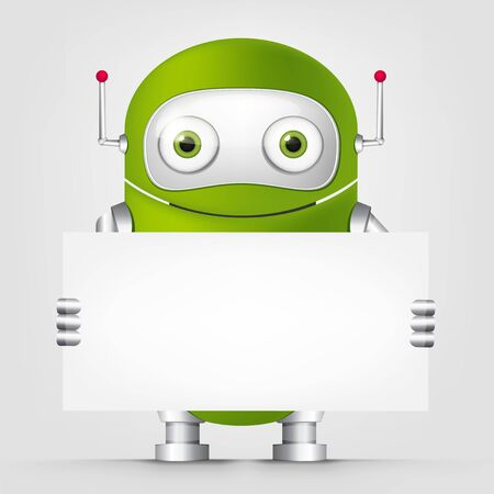 look out: Cartoon Character Cute Robot Isolated on Grey Gradient Background. Look Out. Stock Photo