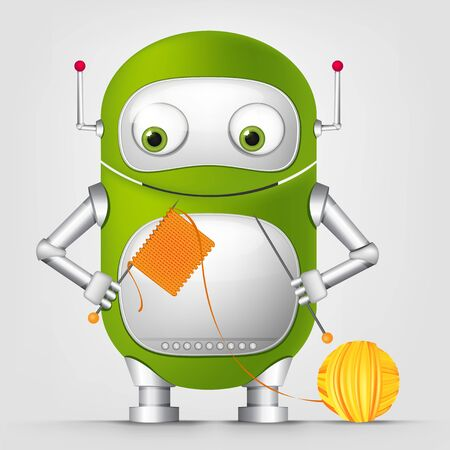 stockinet: Cartoon Character Cute Robot Isolated on Grey Gradient Background. Kniting.