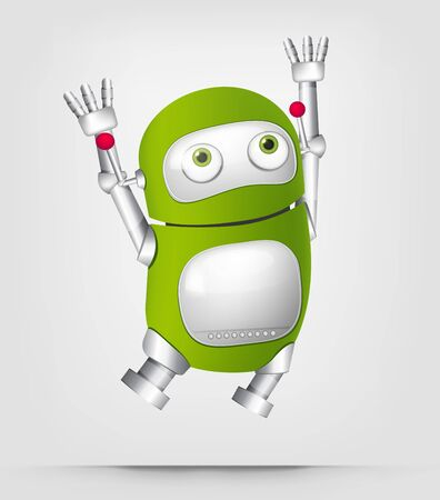 rejoicing: Cartoon Character Cute Robot Isolated on Grey Gradient Background. Jumping. Stock Photo