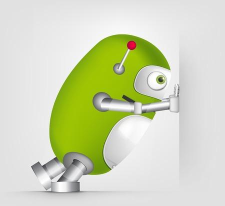 Personaje de dibujos animados linda del robot aislado en el fondo degradado gris. Emprendedor. Foto de archivo