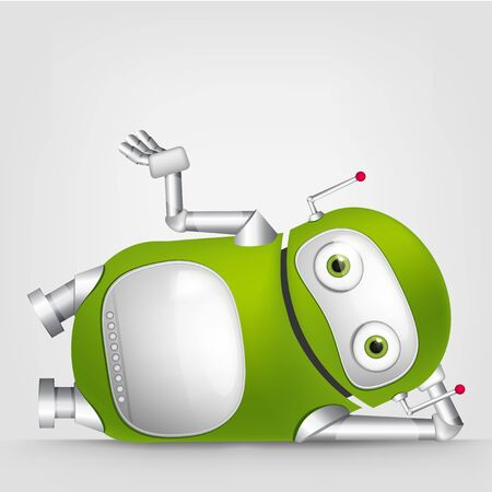 cybernetics: Cartoon Character Cute Robot Isolated on Grey Gradient Background. Relaxation. Stock Photo