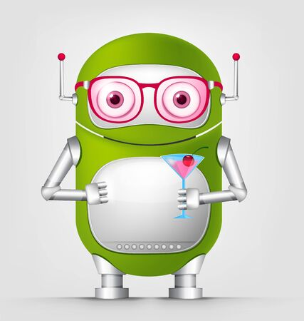 Cartoon Character Cute Robot Isolated on Grey Gradient Background. Cocktail.
