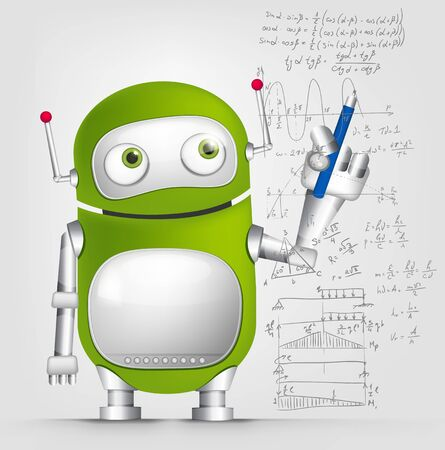signing papers: Cartoon Character Cute Robot Isolated on Grey Gradient Background. Writer.