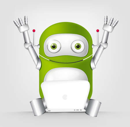coder: Cartoon Character Cute Robot Isolated on Grey Gradient Background. Coder.