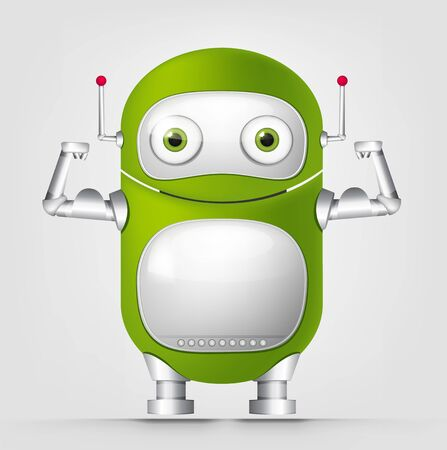 waist weight: Cartoon Character Cute Robot Isolated on Grey Gradient Background. Strong.