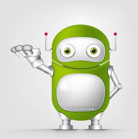 Cartoon Character Cute Robot Isolated on Grey Gradient Background. Empty hand.