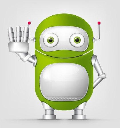 violate: Cartoon Character Cute Robot Isolated on Grey Gradient Background. Stop. Stock Photo