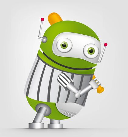 Cartoon Character Cute Robot Isolated on Grey Gradient Background. Golf. Imagens