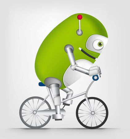 extreme science: Cartoon Character Cute Robot Isolated on Grey Gradient Background. Biker. Stock Photo