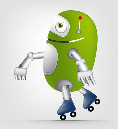 Cartoon Character Cute Robot Isolated on Grey Gradient Background. Roller. Stock Photo