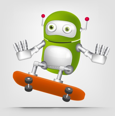 Cartoon Character Cute Robot Isolated on Grey Gradient Background. Skateboarding.