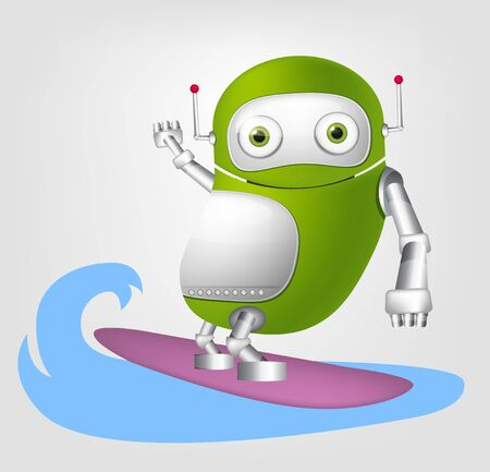 funny surfer: Cartoon Character Cute Robot Isolated on Grey Gradient Background. Surfing. Stock Photo