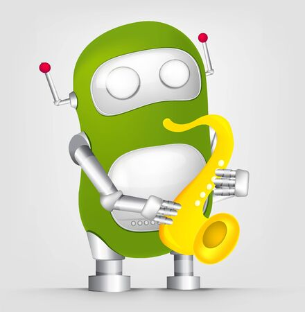 Cartoon Character Cute Robot Isolated on Grey Gradient Background. Saxophonist.