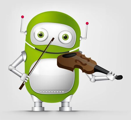 Cartoon Character Cute Robot Isolated on Grey Gradient Background. Violinist. Stock Photo