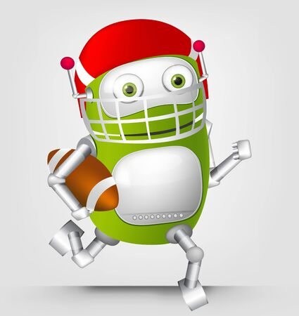 scrum: Cartoon Character Cute Robot Isolated on Grey Gradient Background. Rugby.