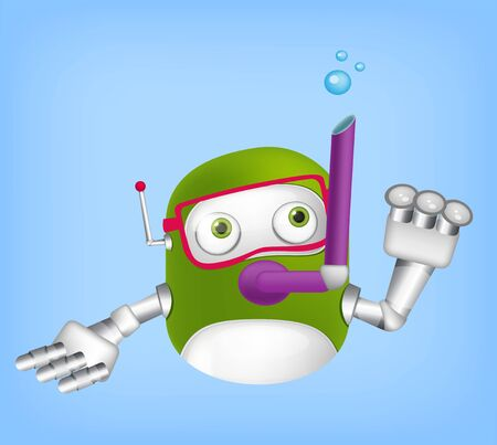 Cartoon Character Cute Robot Isolated on Grey Gradient Background. Diver. Stock Photo