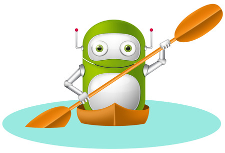 Cartoon Character Cute Robot Isolated on Grey Gradient Background. Kayaker. Stock Photo