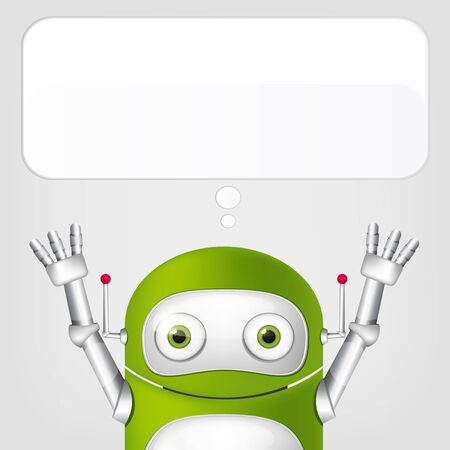 exhilaration: Cartoon Character Cute Robot Isolated on Grey Gradient Background. Stock Photo