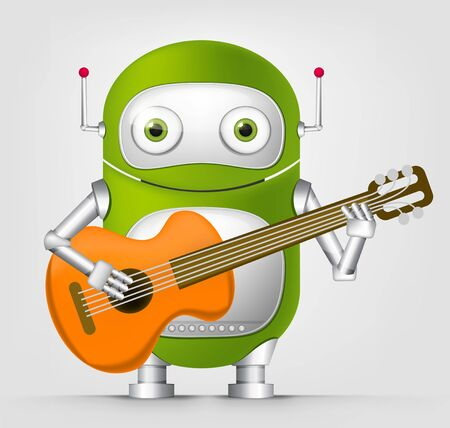 Cartoon Character Cute Robot Isolated on Grey Gradient Background. Guitarist. Stock Photo