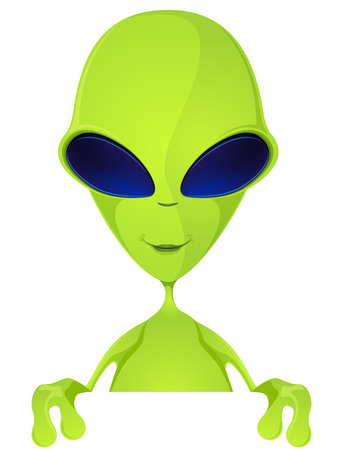 invade: Cartoon Character Funny Alien Isolated on Grey Gradient Background. Look Out. Stock Photo