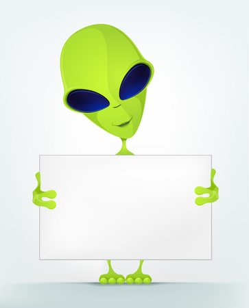 look out: Cartoon Character Funny Alien Isolated on Grey Gradient Background. Look Out. Stock Photo