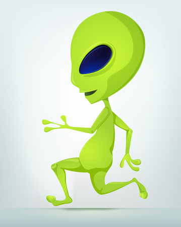 Cartoon Character Funny Alien Isolated on Grey Gradient Background. Running.