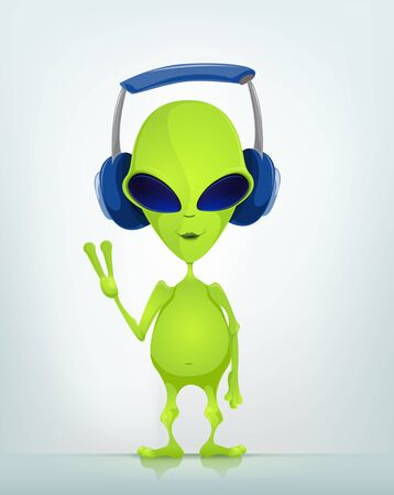 Cartoon Character Funny Alien Isolated on Grey Gradient Background. Listening to Music. Stock Photo