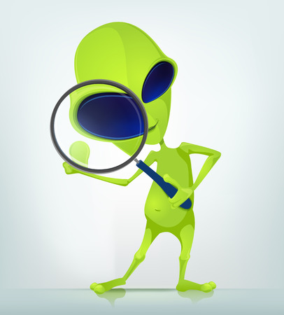 green issue: Cartoon Character Funny Alien Isolated on Grey Gradient Background. Search.