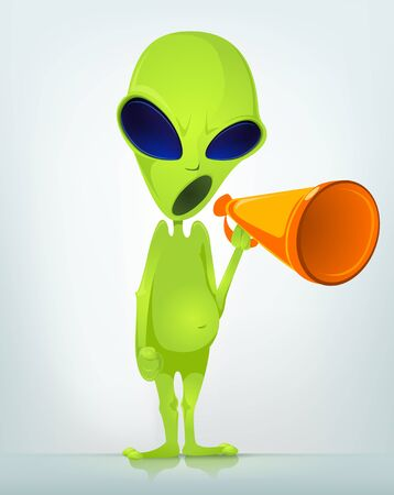 invade: Cartoon Character Funny Alien Isolated on Grey Gradient Background. Speaker.